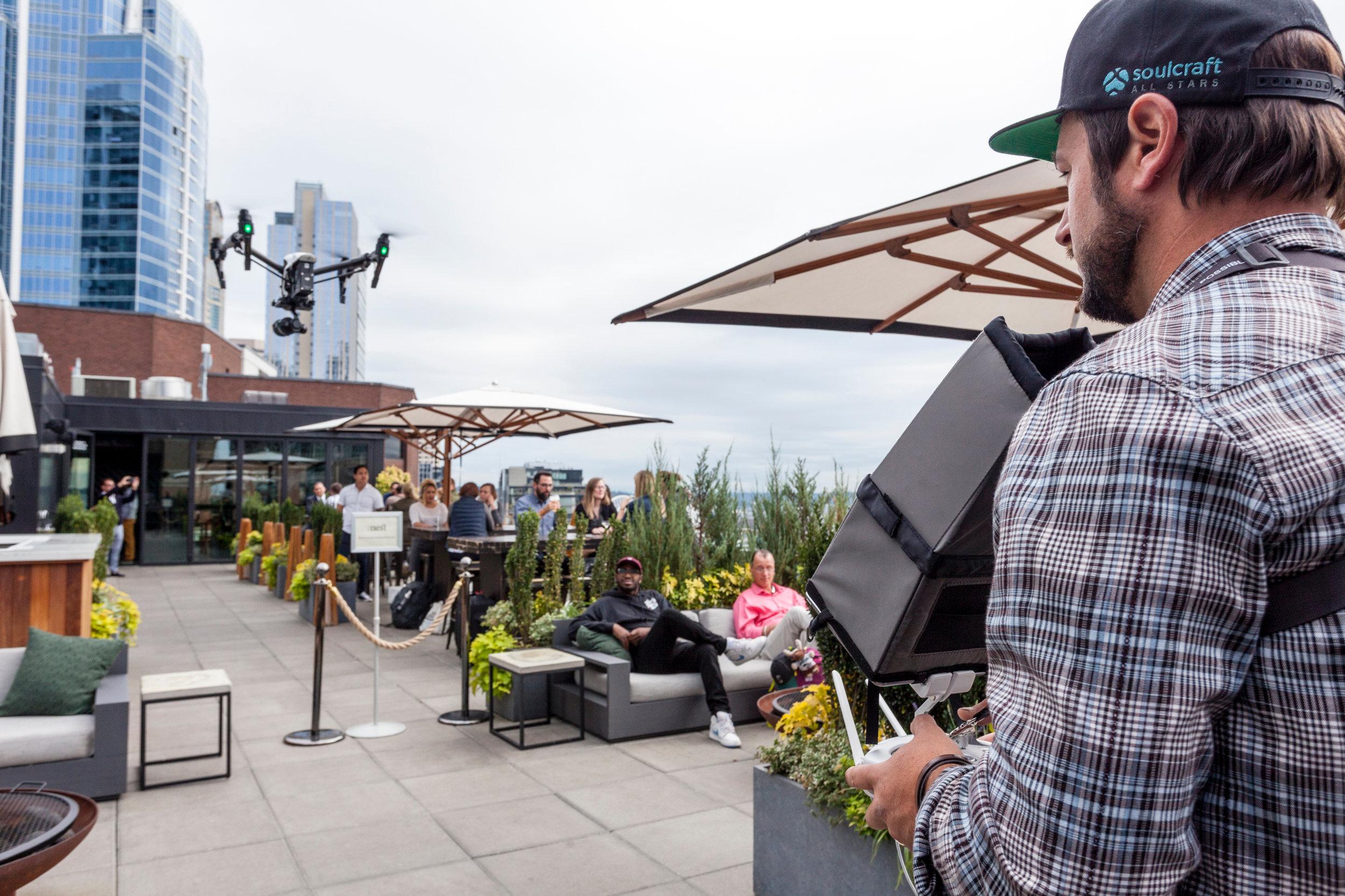 Soulcraft Allstars photographer filming outside restaurant