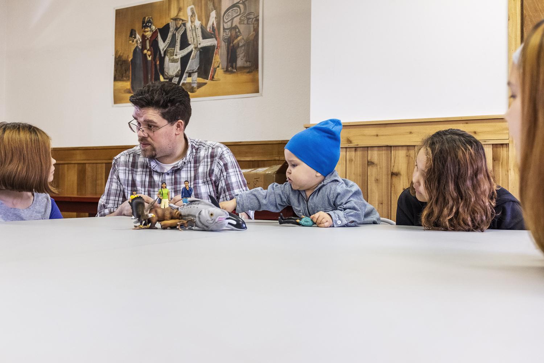 David Robert Boxley teaching Tsimshian to some of Metlakatla's youth.