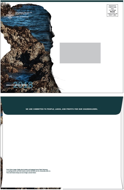 """THE ENVELOPE DESIGN - A """"Vision Image"""" of Taylor Vantrease from Kake, Alsaka and the intertidal areas she and her community depend on for food."""