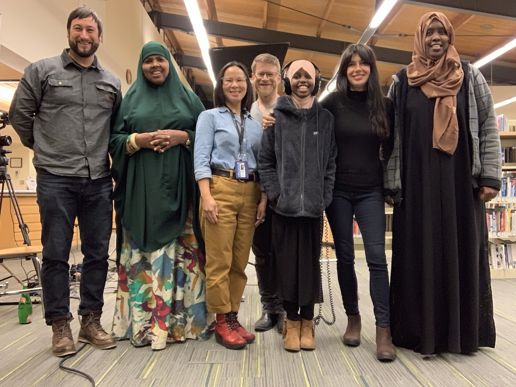 That's a wrap. Soulcraft Allstar film crew, Seattle Public Library Foundation staff, our Somali translator, and Halima and her Mother at their local Seattle Public Library branch.