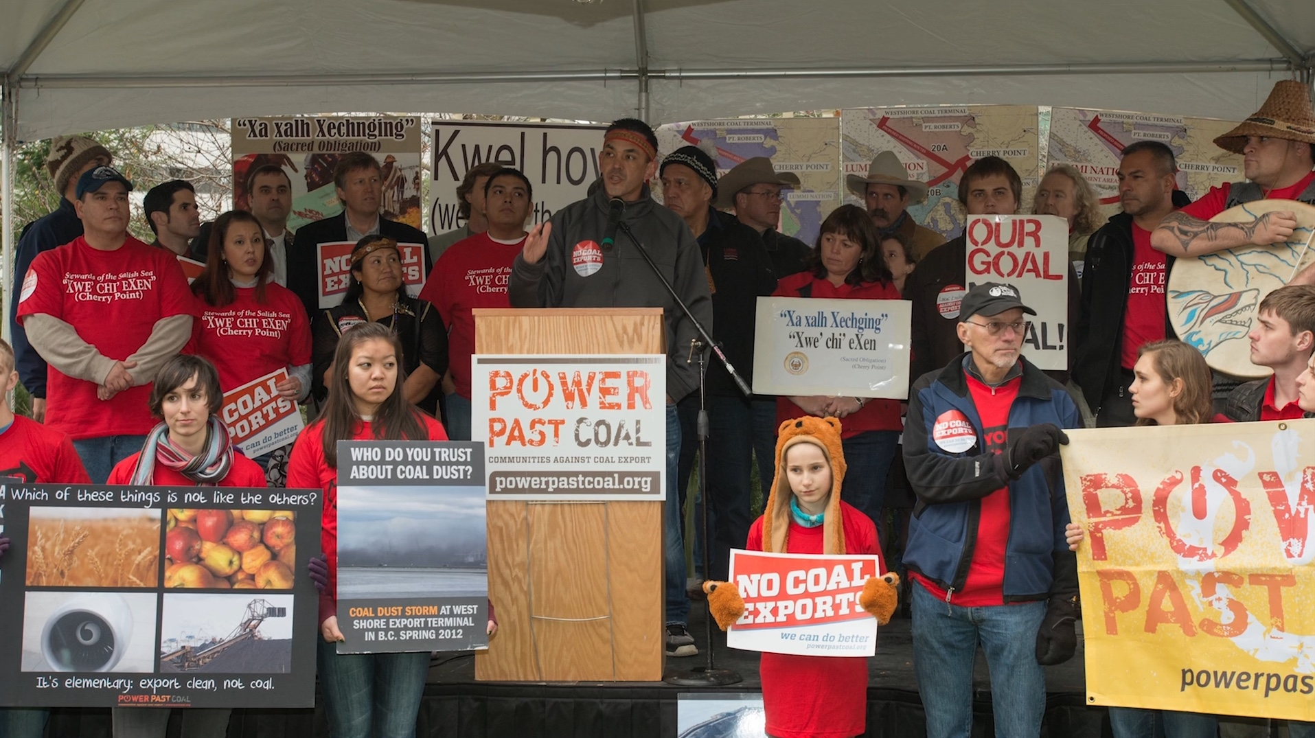 Jay Julius, Lummi Nation chairman, speaking out about the proposed Coal Trains. Photo by Paul Anderson.