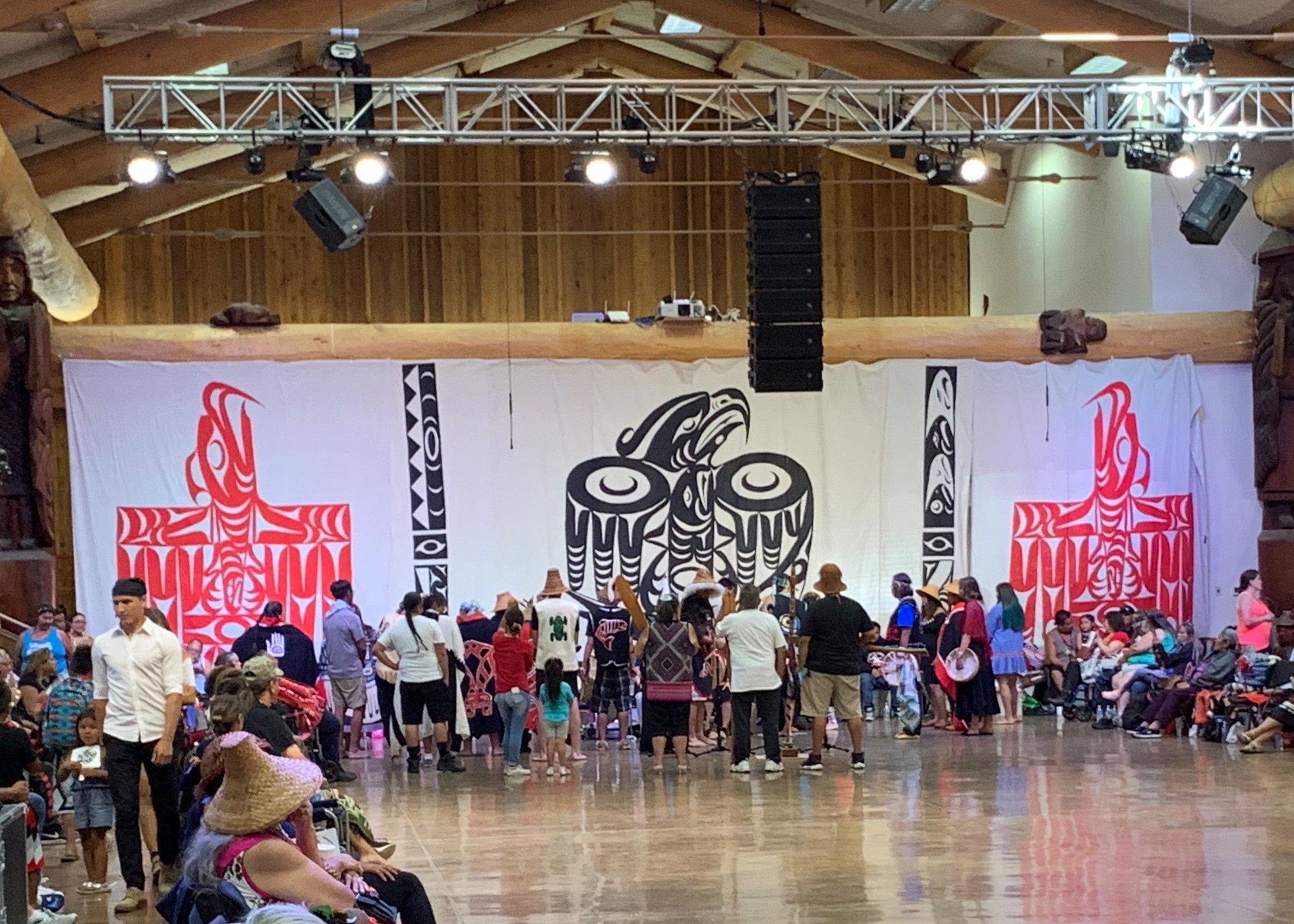 Tlingit, Tsimshian, and Haida Native Alaskan Tribes present to the Lummi Nation at Paddle to Lummi 2019. Photo by Aaron Straight.
