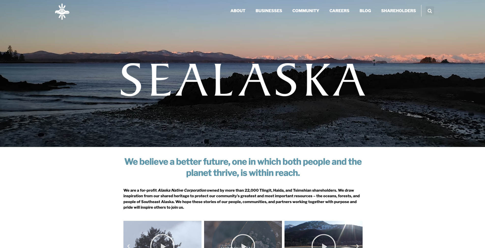 The home page of the new  Sealaska website  Soulcraft designed and created the storytelling content for alongside Sealaska's community, leadership, and our partners  Why For Good .