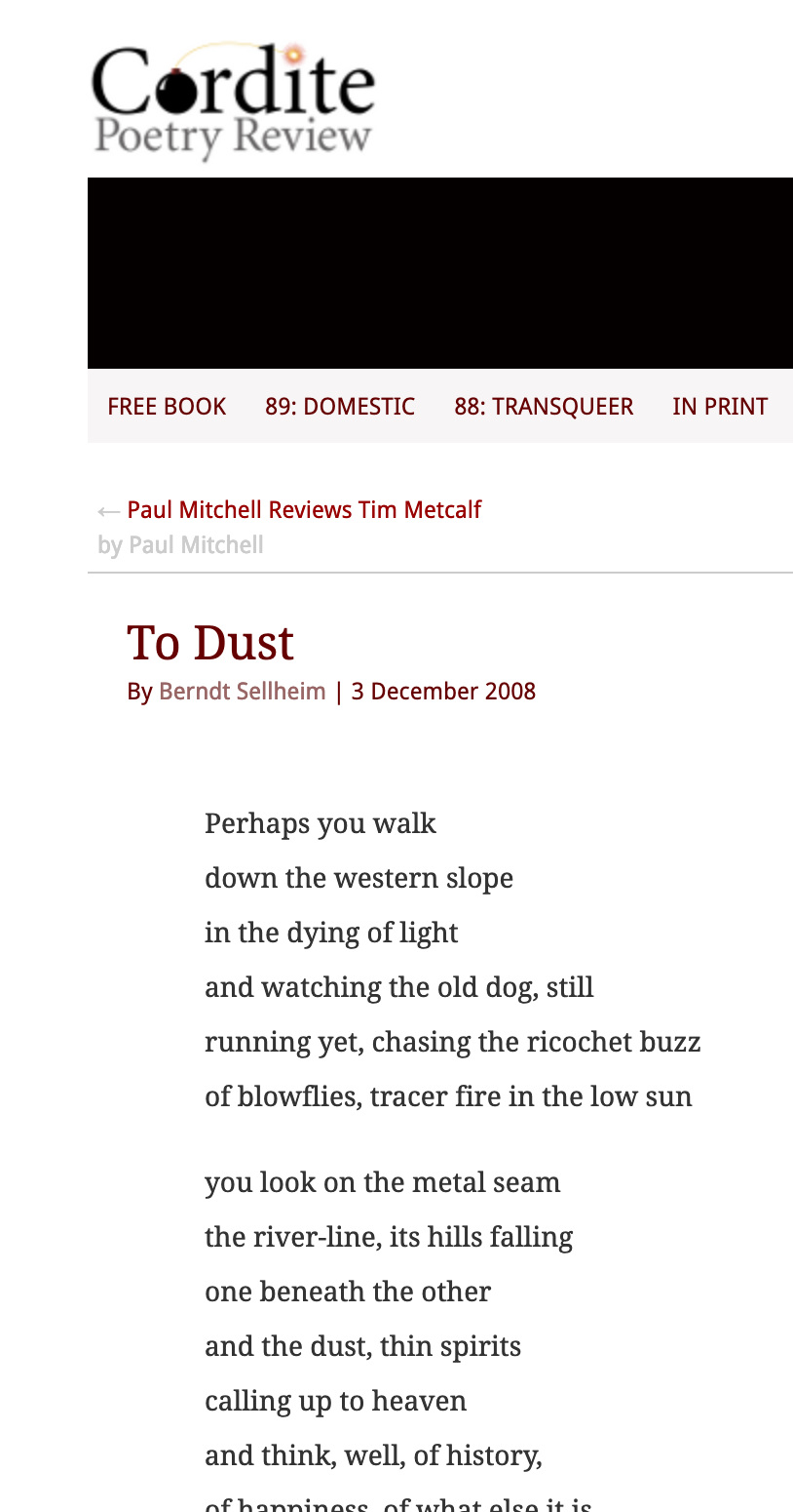 My poem, 'To Dust'in Cordite. -