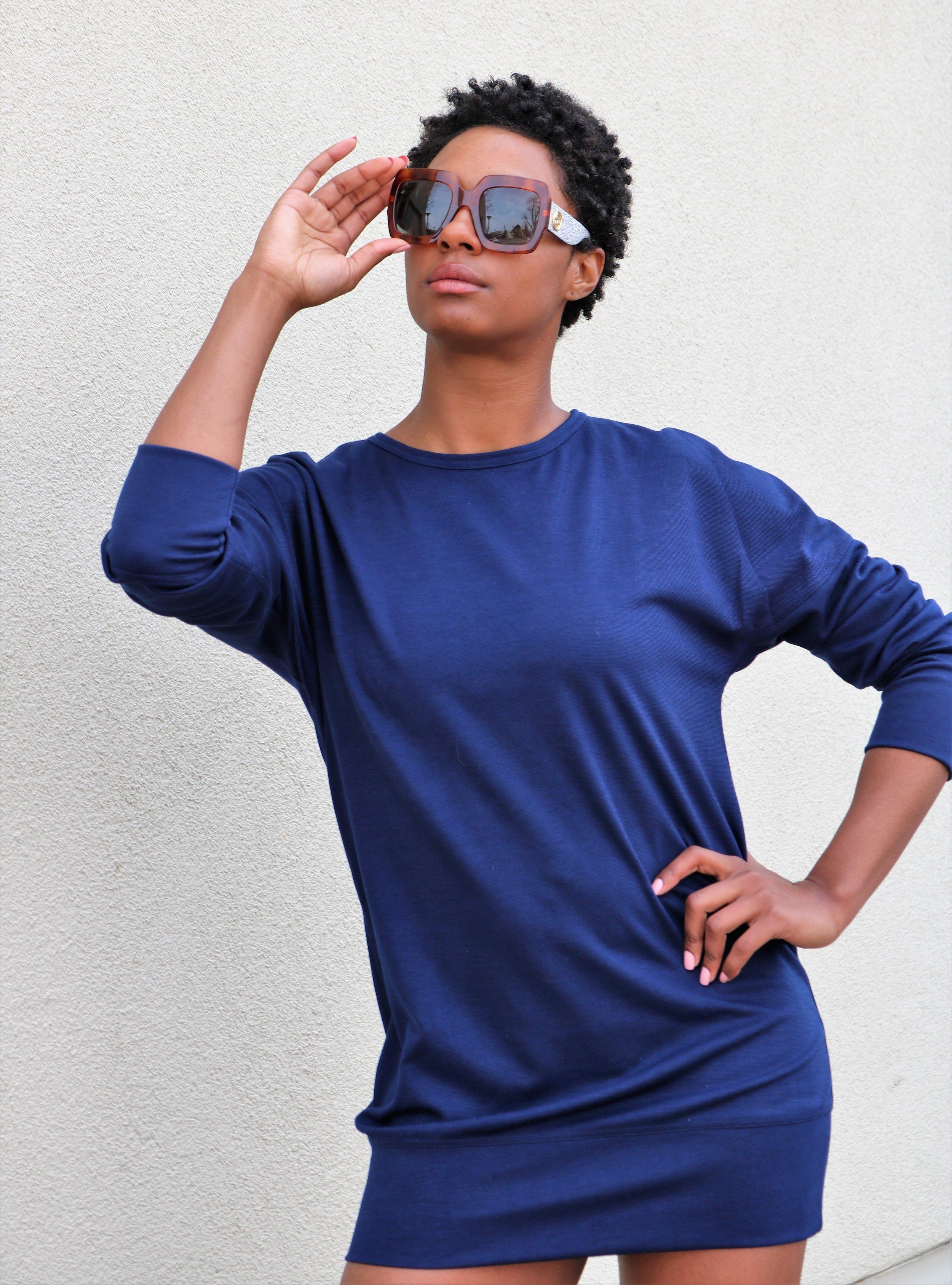 Lemon and Buzz Navy Sweatshirt Dress, Viva Glam Gucci Sunglasses.