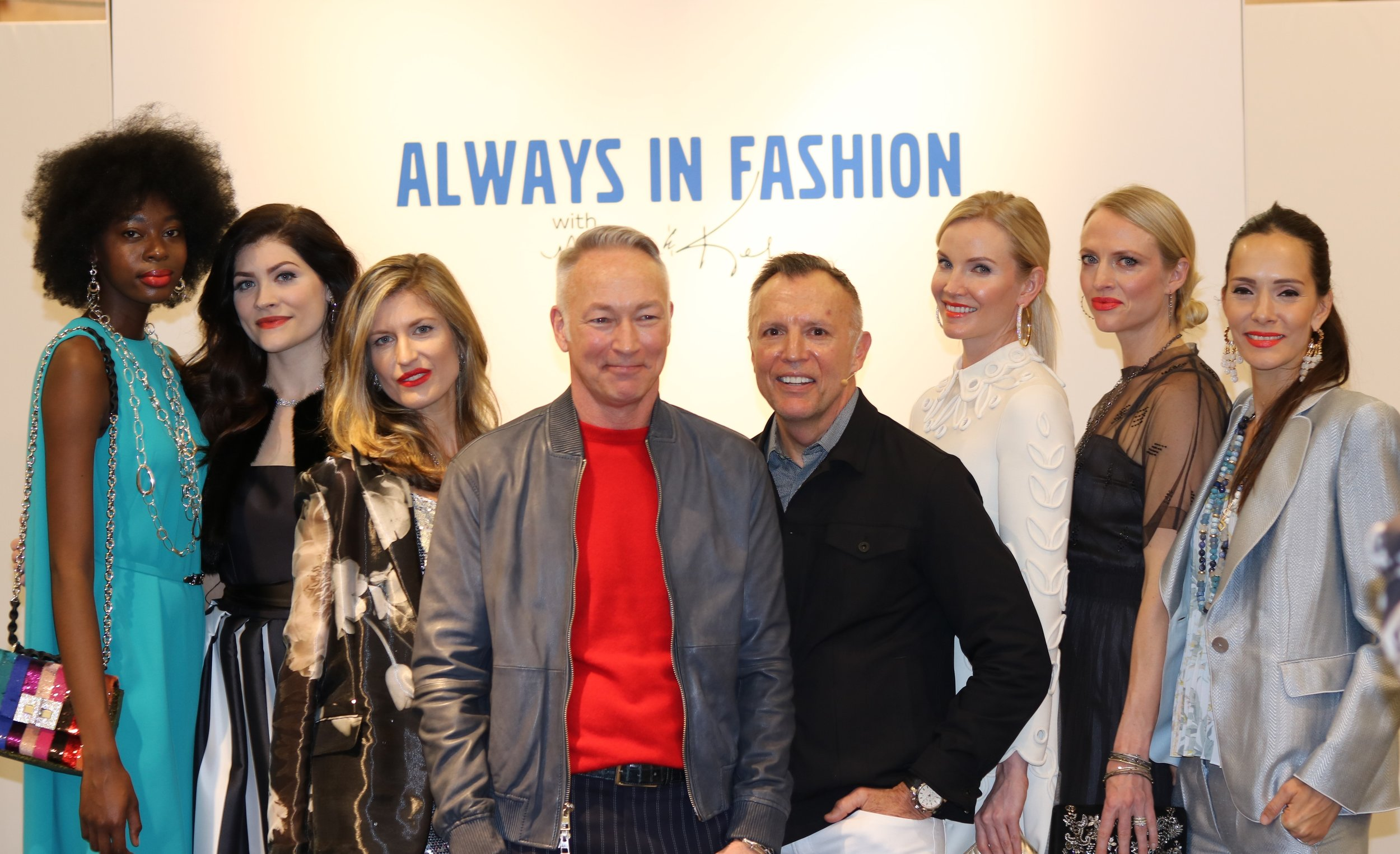 Mark Lawson and Kel Rowe with models at the Spring Fashion Presentation
