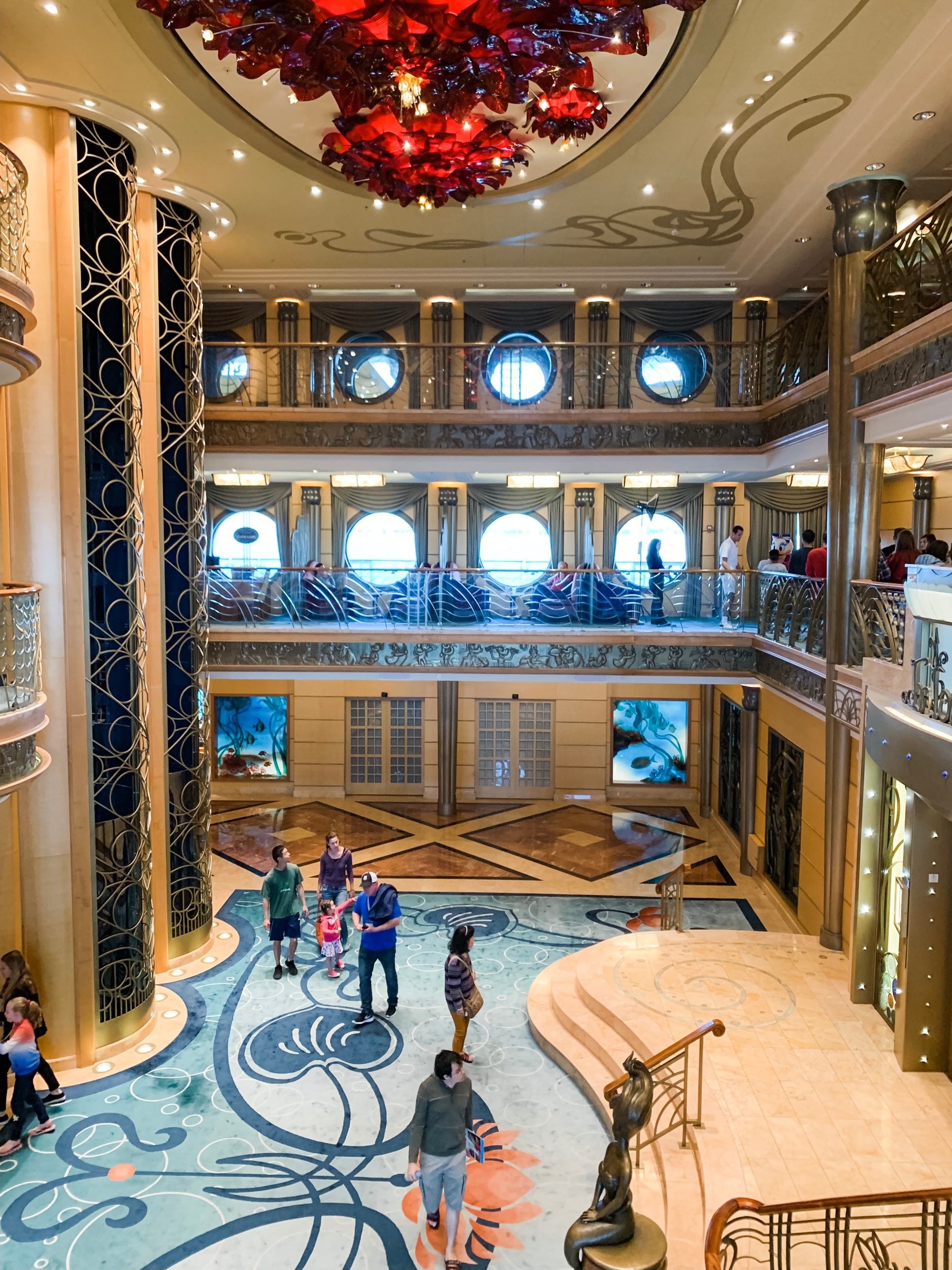 The beautiful main atrium on the ship