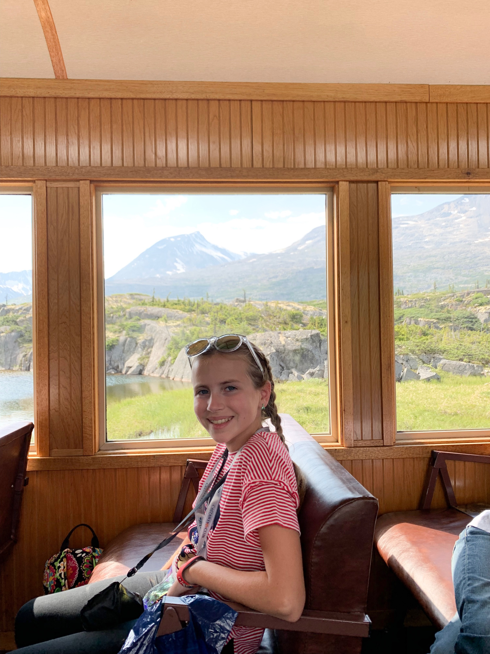 Riding on a train back to Skagway!
