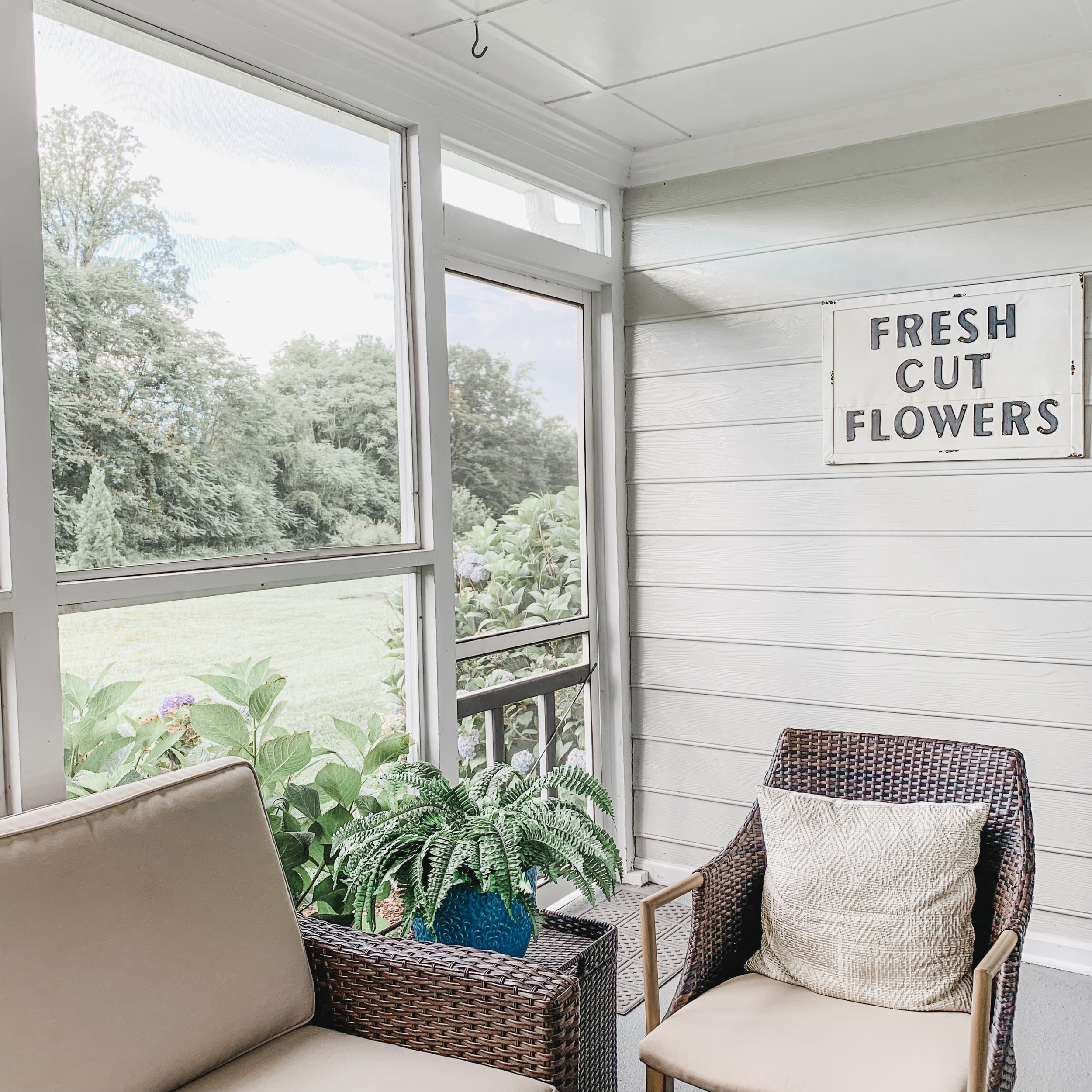Our little reading nook on the screened-in porch