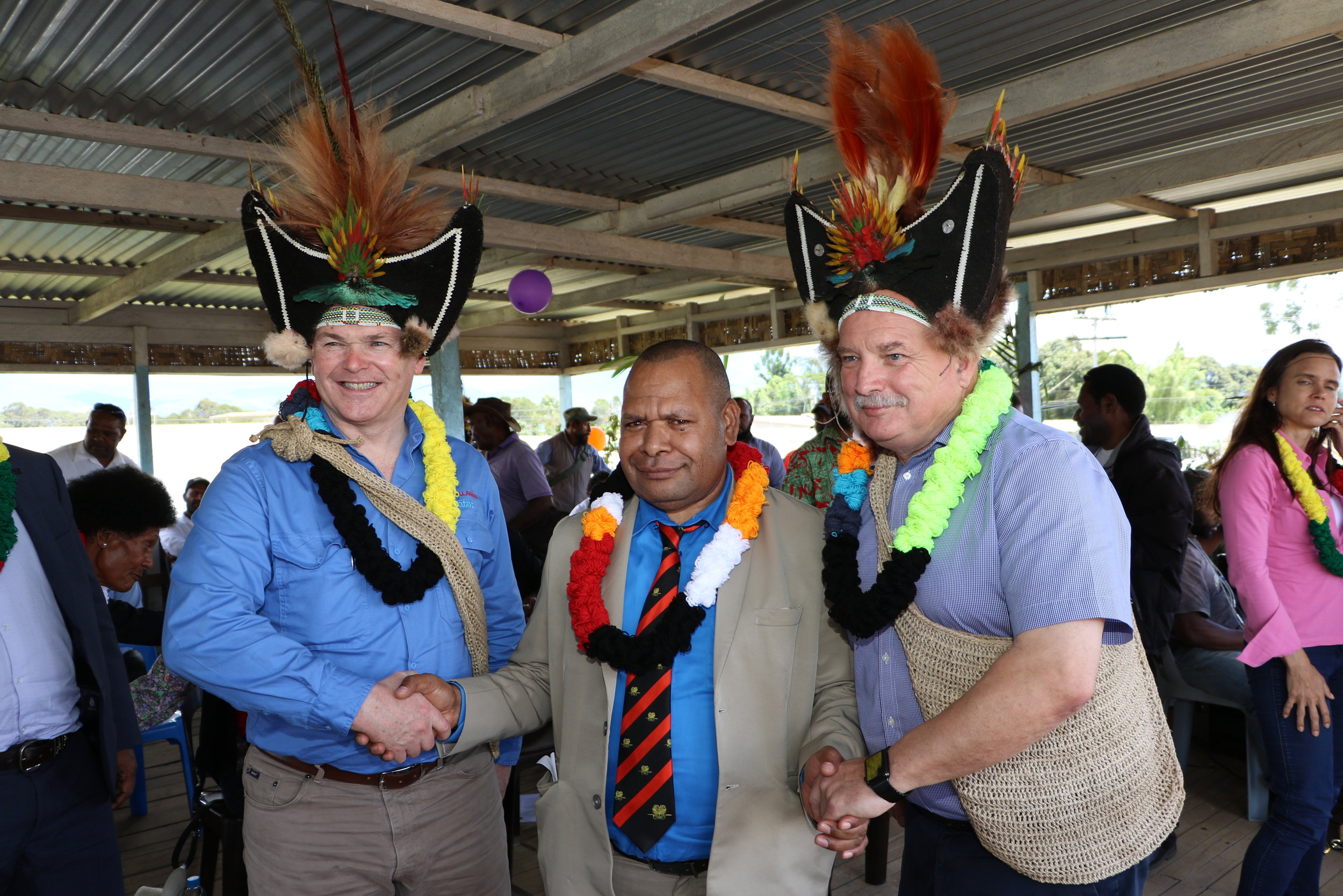 Santos CEO Kevin Gallagher, Governor Hela Province Philip Undialu and Oil Search Managing Director Peter Botten.