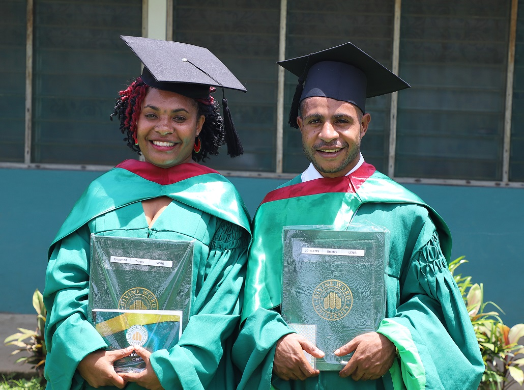 OSF scholarship recipients Stanley Lemb was awarded the Leadership Award and Tracey Vege received the Good Citizenship Award at the Lutheran School of Nursing graduation on Sunday.