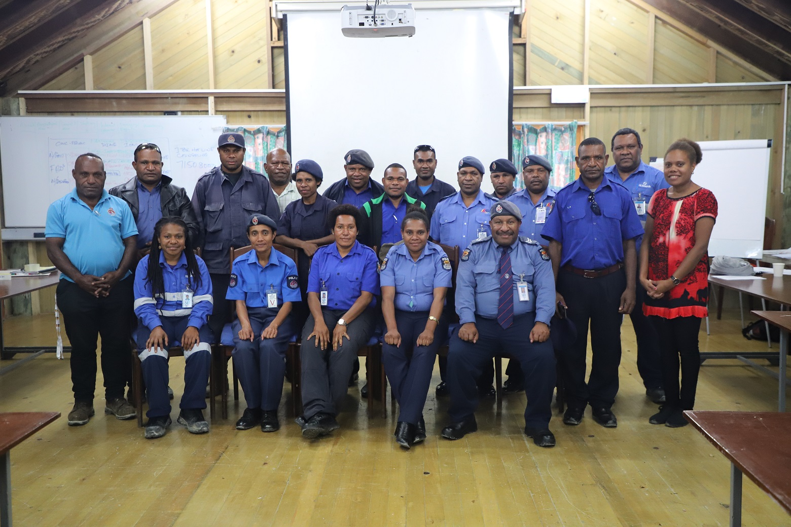Police officers from Moro, Pimaga and Mendi following the FSV training organised by the Oil Search Foundation (OSF) in partnership with the Department of Justice and Attorney General.