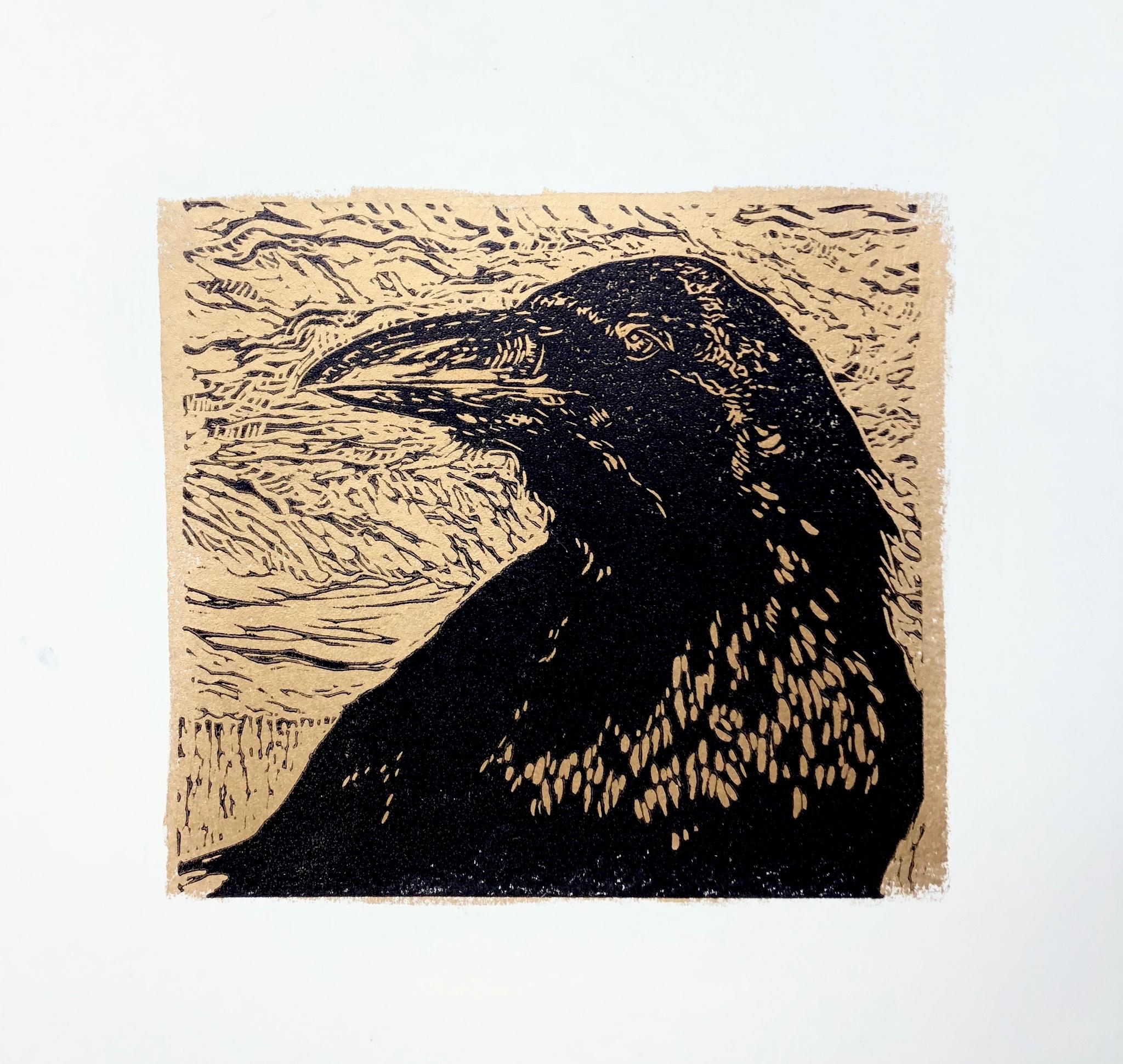 Portrait of Raven in Gold - Zion National Park - woodcut print
