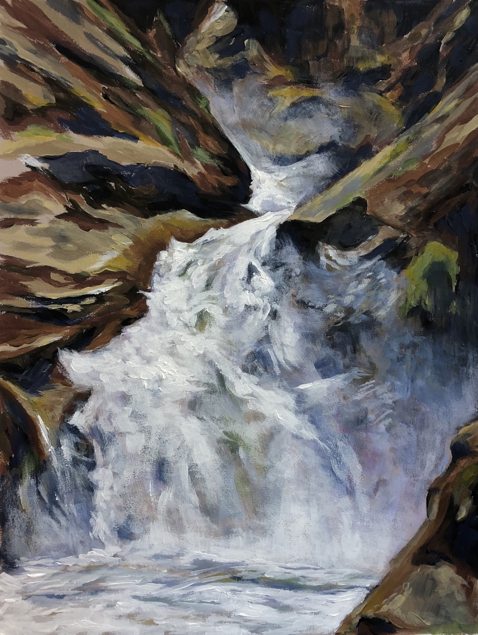 Roaring River Falls, King's Canyon National Park - Acrylic on Colorfix Paper
