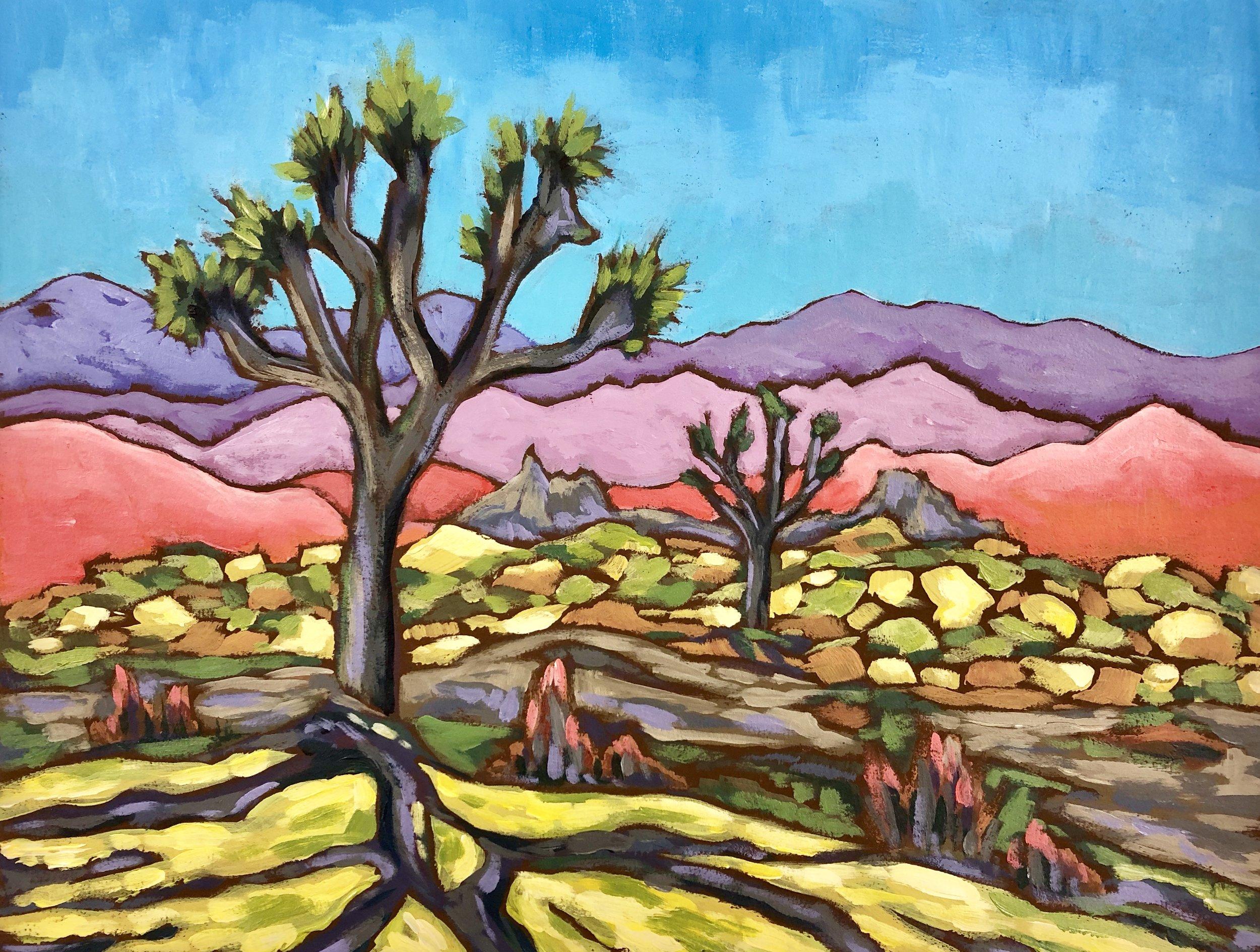 Hidden Valley - Joshua Tree National Park - Acrylic on Colorfix Paper