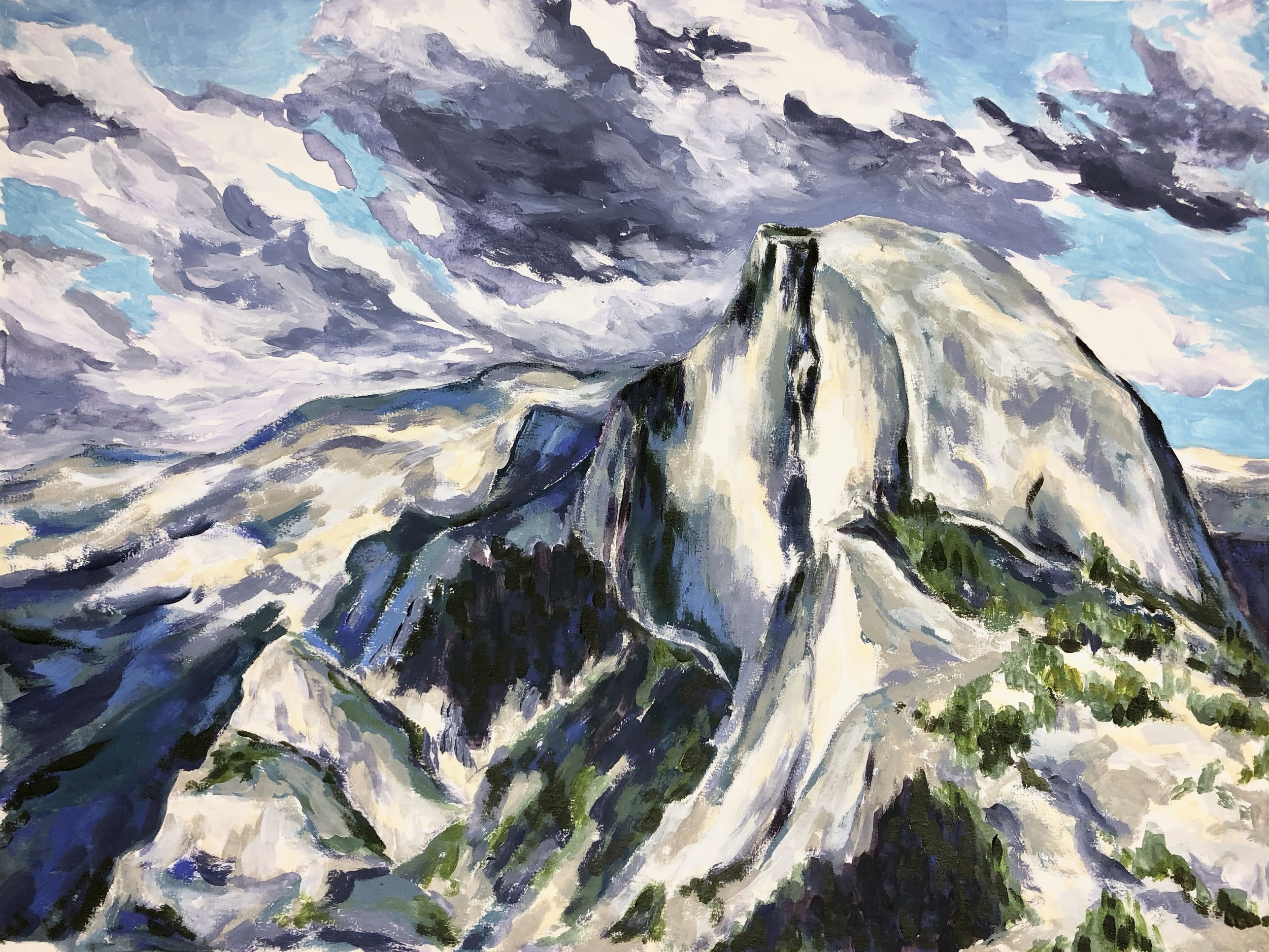 Weather Blowing In, Half Dome - Yosemite National Park - Acrylic on Colorfix Paper