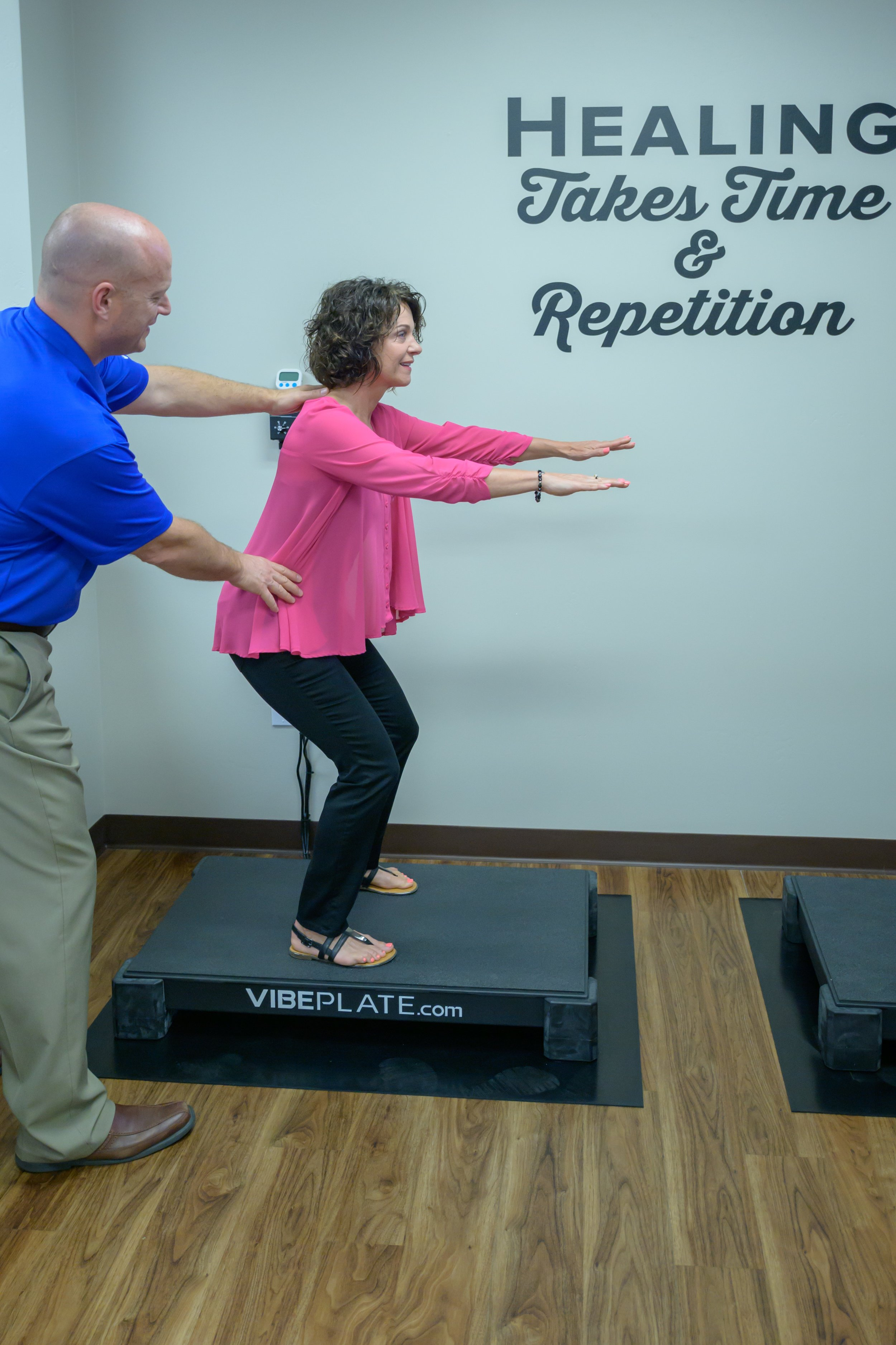 Therapeutic exercise - Therapeutic exercises and postural correction provide stabilization of the spine through improvement of muscle tone, balance and circulation. These procedures become even more effective using our VibePlate whole body vibration machines, which gently force your muscles to contract and relax repeatedly, improving muscle tone and increasing circulation, flexibility and range of motion. This improves the health of deeper stabilizing postural muscles.