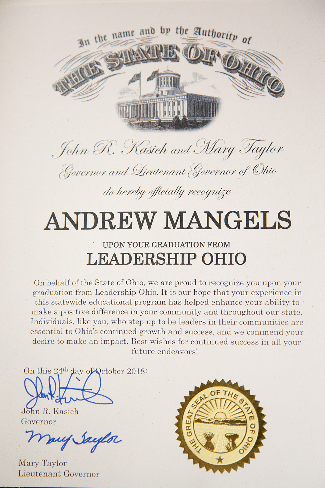 "Andrew Mangels 2018 ""Leader Among Leaders"""