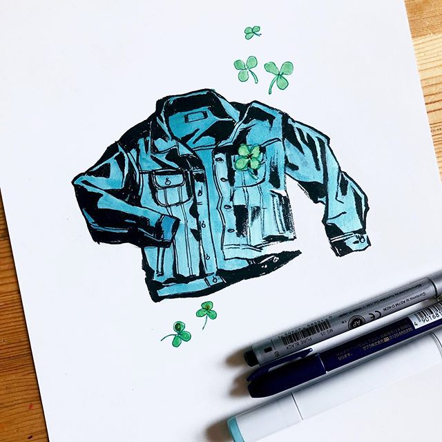Sketch for a potential block print. What do you guys think? 🤔 Might make the jacket different color(s) depending on what nice mixtures I can make with new inks I purchased recently. I've always wanted a light peachy pink denim jacket... Living vicariously through art. 😂 . #sketch #artprocess #artistsoninstagram #inkdrawing #copic #copicmarkers #denim #denimjacket #goodvibes