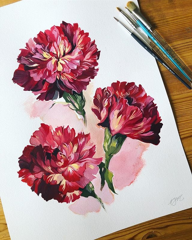 Finished this painting of some of the most unique carnations I've ever seen, an assortment of fiery reds and yellows on every petal. 😮  12 x 16in., gouache. . #artistsoninstagram #artstagram #originalartwork #paintlife #gouache #holbein #windsornewton  #archespaper #plantstagram #plantlife #houseplants #plantmom #natureaesthetic #botanicalillustration  #botanicalart #carnation #bouquet #flowerlove #flowerpainting #flowerdaily