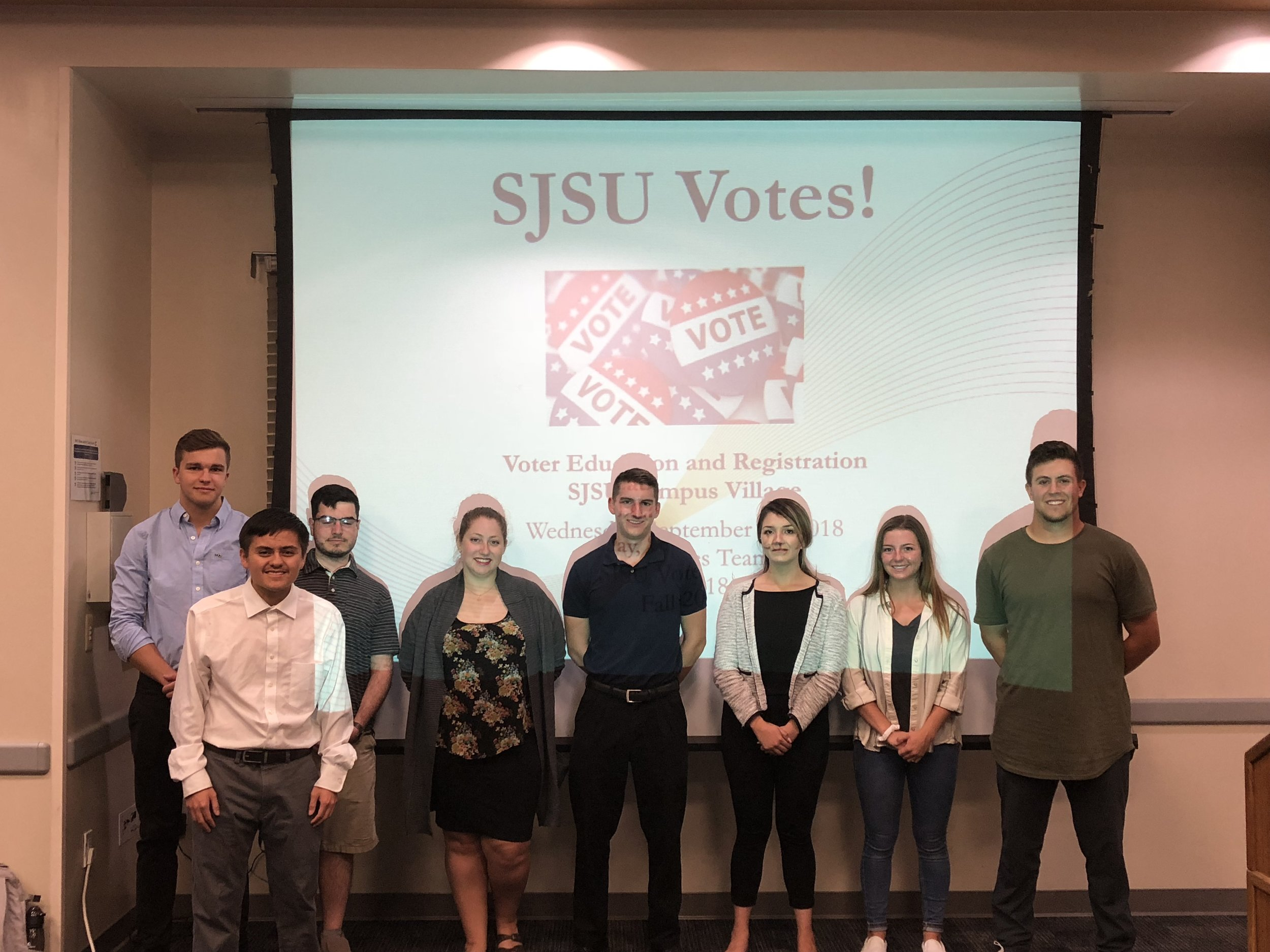 SJSU Votes! Presentation Team at Campus Village 9/26/18  Ed, Shuan, Albert, Miriam, Anthony, Deysi, Kalie, Travis, and Mary (not pictured)