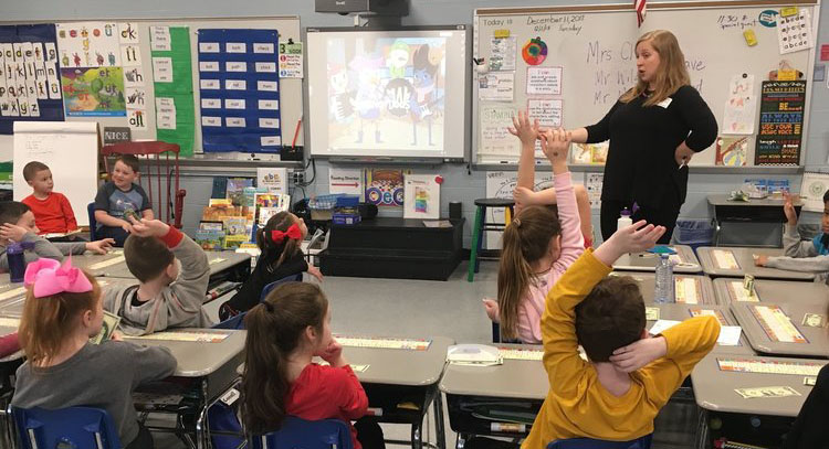 Jessica implementing a pilot lesson for WingaDoos at a school in Hazlet, NJ