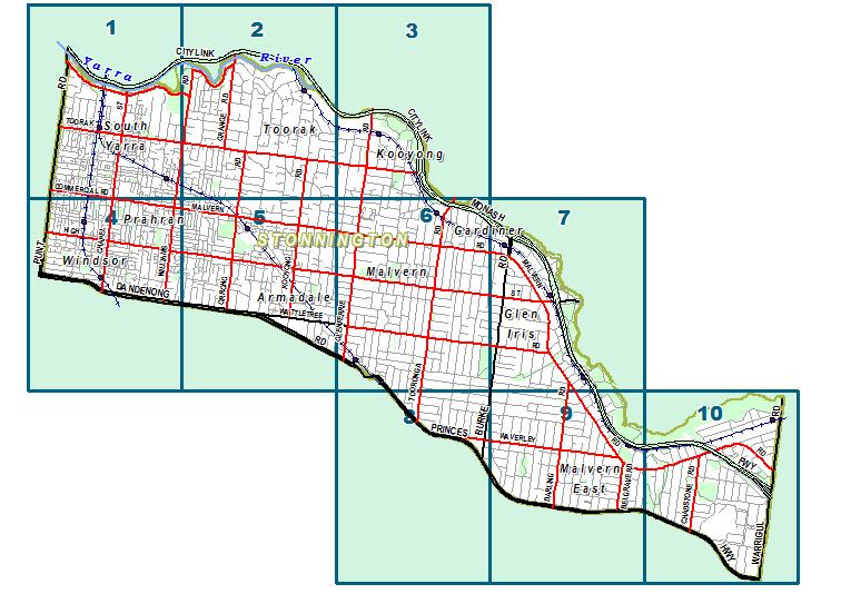 Map of Stonnuington City Council Suburbs.
