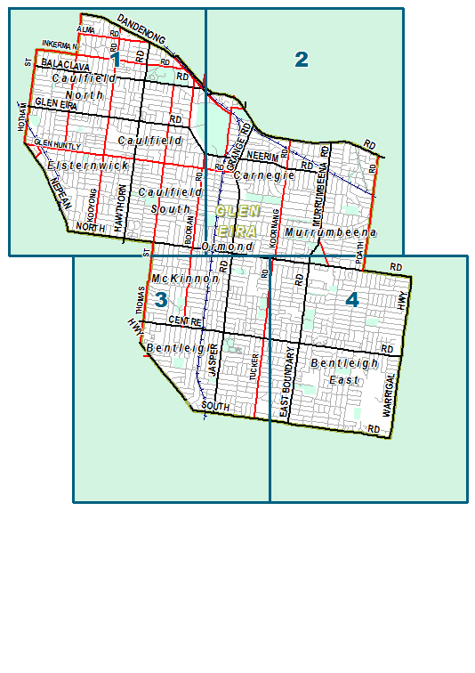 suburb map of Glen Eira Council