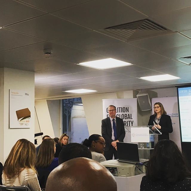 Fantastic #cfid event with @dfid_uk  Secretary of State @pennymordauntmp and Jeremy Lefroy MP well done to Theo and Caroline for an inspiring event