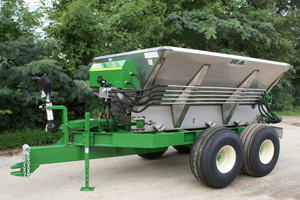 MagnaSpread 10' or 12' Tandem Axle Hydraulic Spreader - Customized for your specific application - Precision Fertilizer, Lime and Organics Spreader - Medium Capacity - Variety of Applications - PTO or Hydraulic Powered Driven Spinners - Spreads Fertilizer in 80' PLUS swaths!