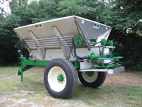 MagnaSpread 10' Single Axle Fertilizer Lime Spreader - MagnaSpread 10' Single Axle Fertilizer Lime Spreader for Distribution of Granular Fertilizer or Lime - Medium Capacity - High Clearance - Classic Single Axle Applicator for Turf Farms, Pastures and Row Crops. Designed for High Clearance to straddle rows. Advanced Technology for the most sophisticated farmer! ALL BBI MagnaSpread units come with the BBI Binary Manifold which makes use of electronics a SNAP!