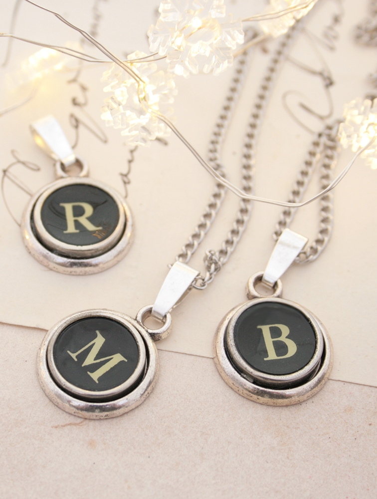 initial pendant necklace made of authentic typewriter key letter