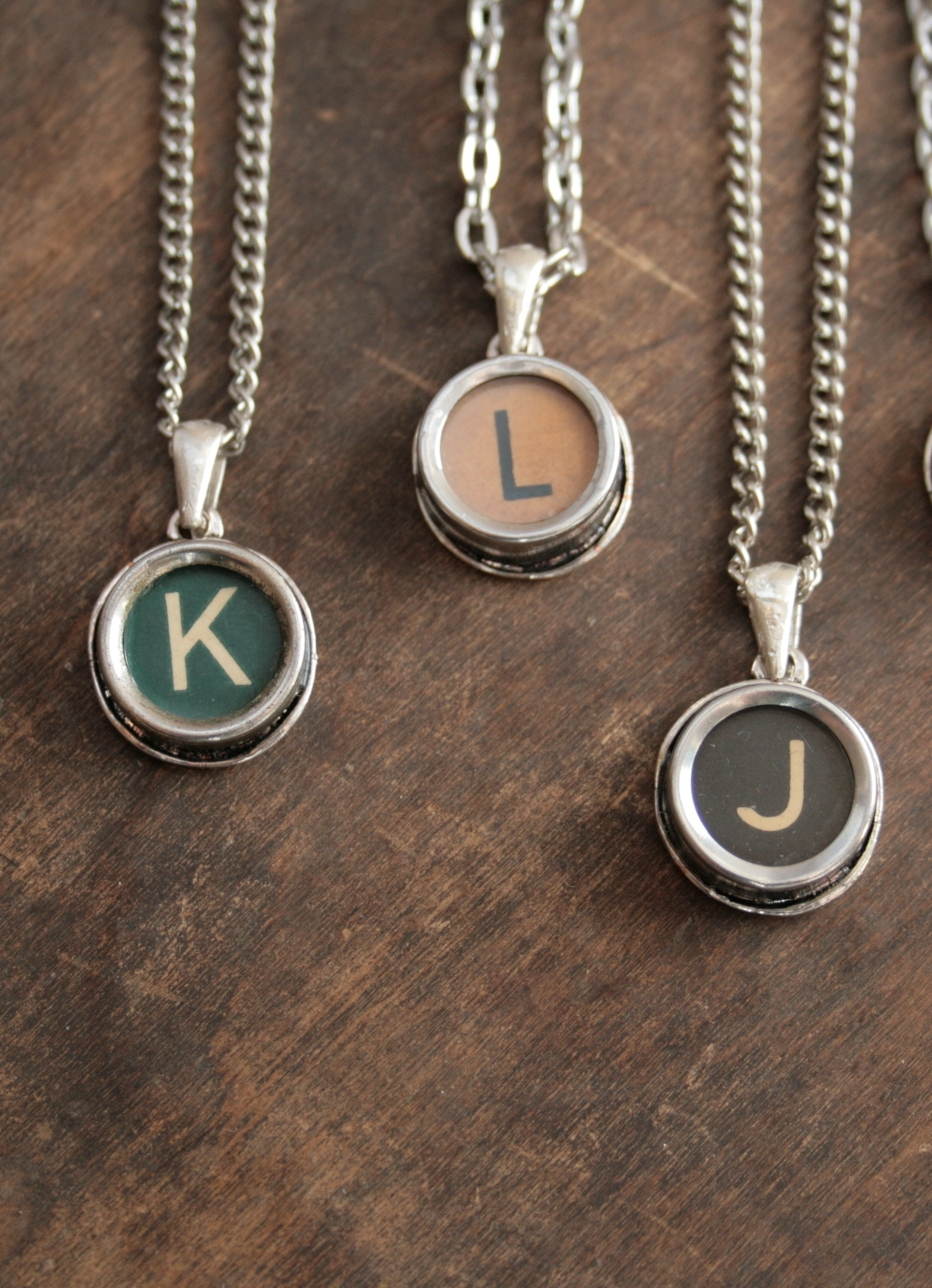 custom initial pendant necklace made of authentic typewriter key letter