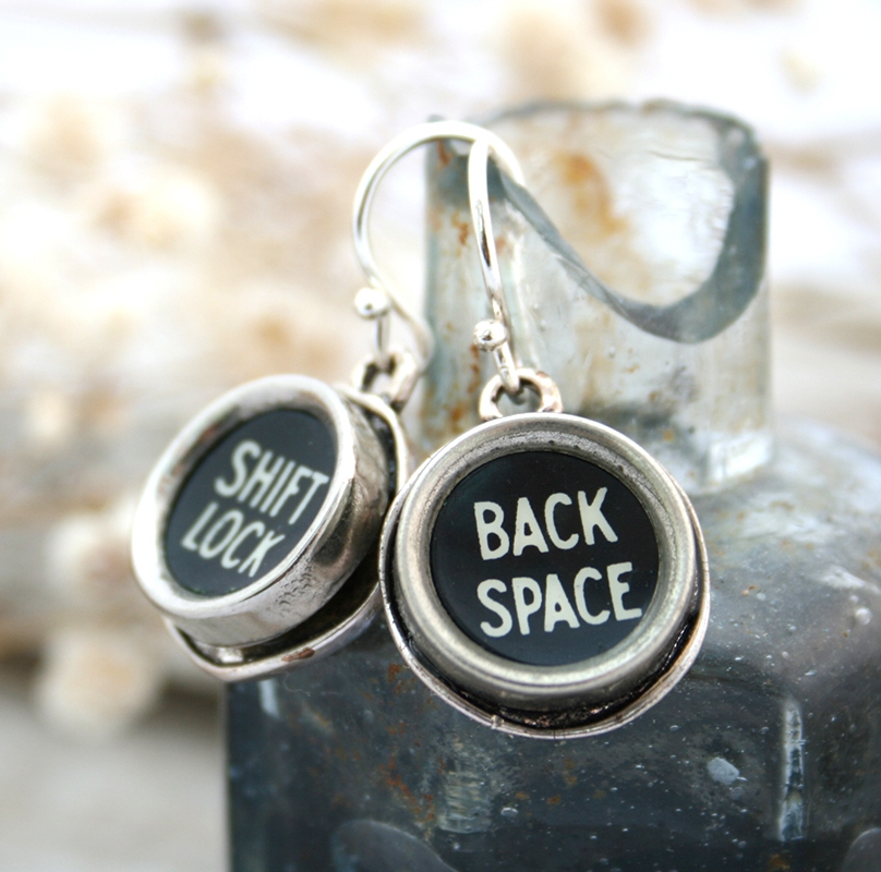 statement dangling earrings made of typewriter keys / back space quirky earrings
