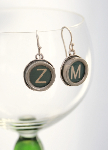 initial earrings / statement dangling earrings made of green typewriter key
