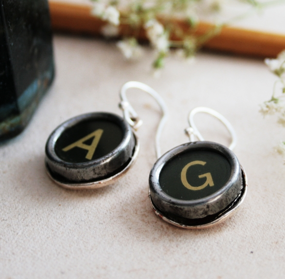 initial earrings / statement dangling earrings made of black typewriter key