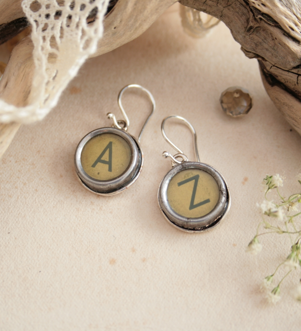 initial earrings / statement dangling earrings made of typewriter key