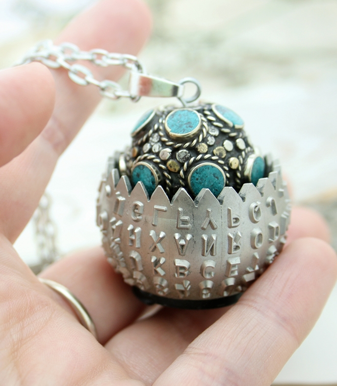statement jewellery made of antique typewriter golf ball