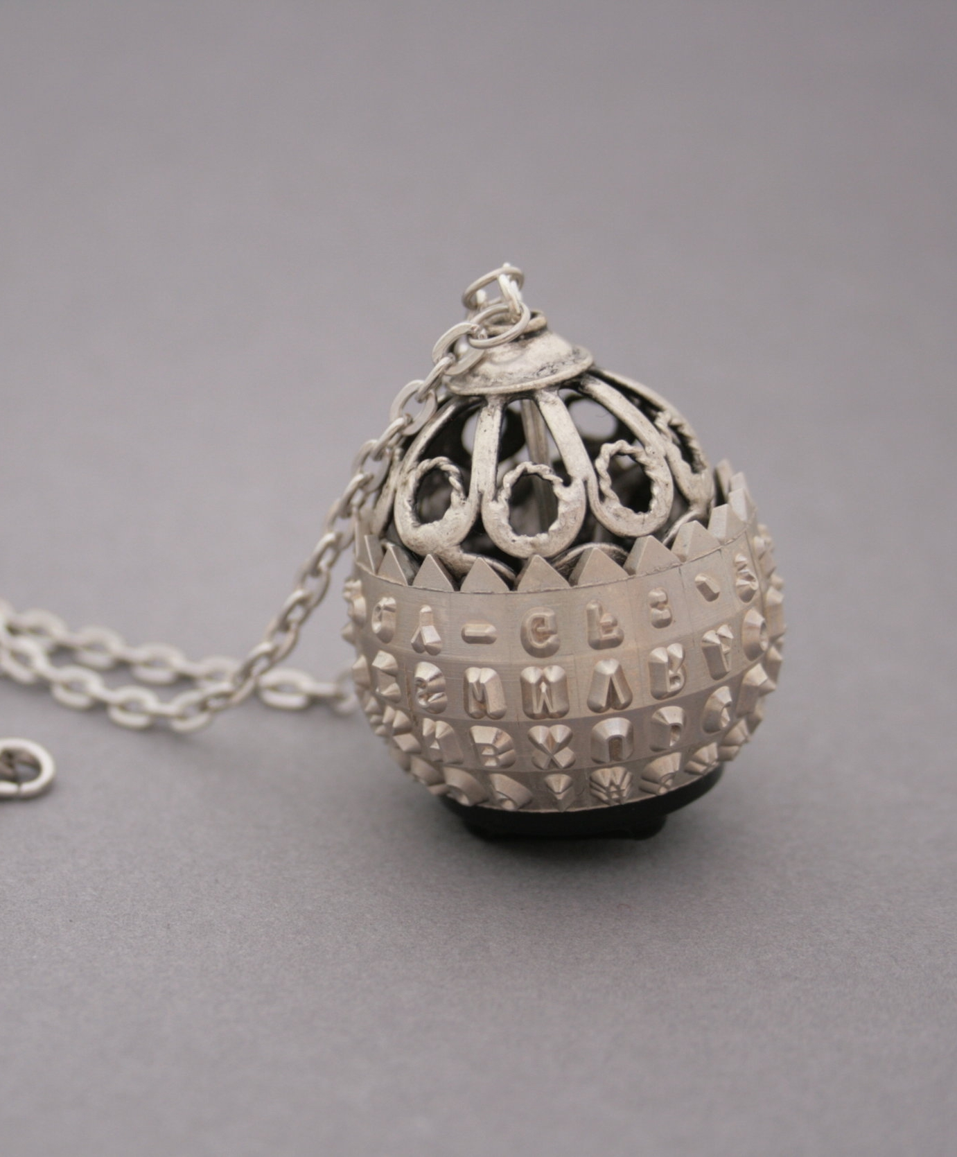 statement jewellery made of antique typewriter / ibm selectric type ball necklace