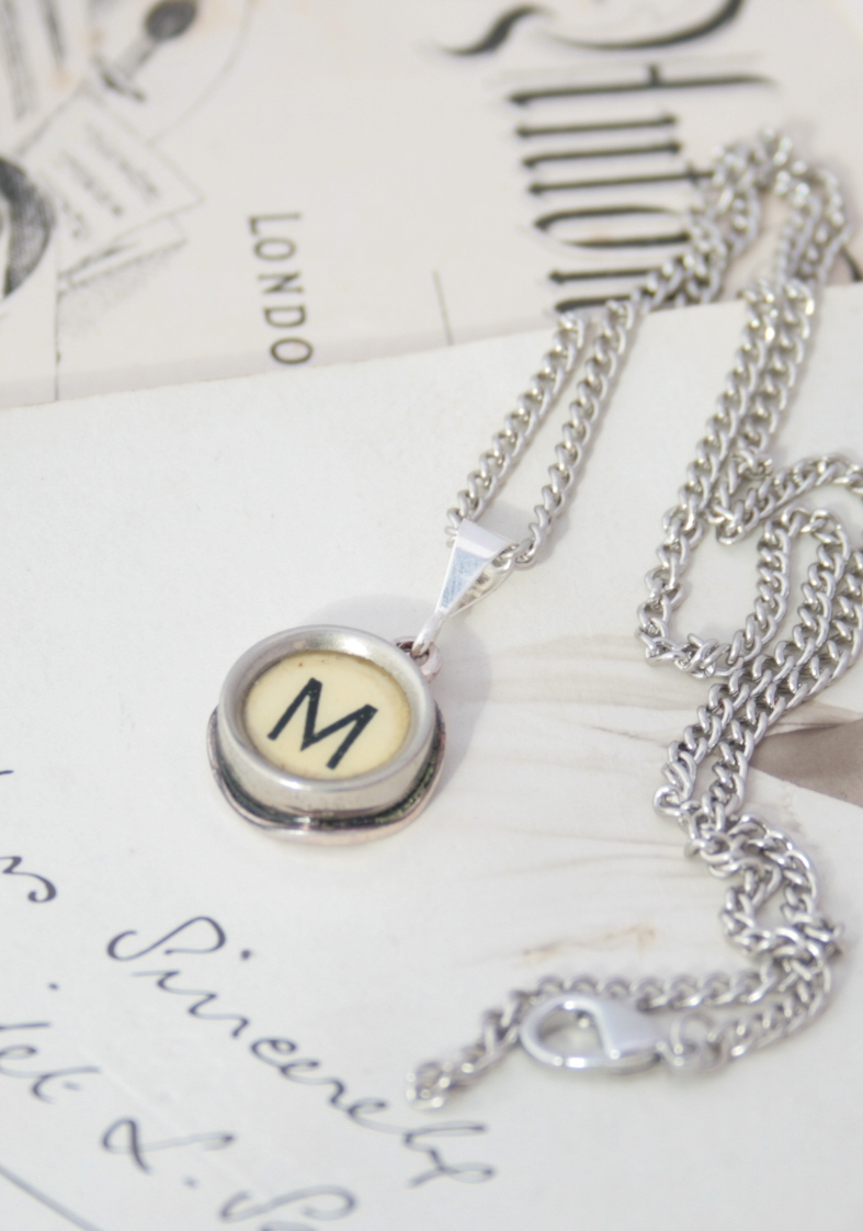ivory initial pendant necklace made of authentic typewriter key letter
