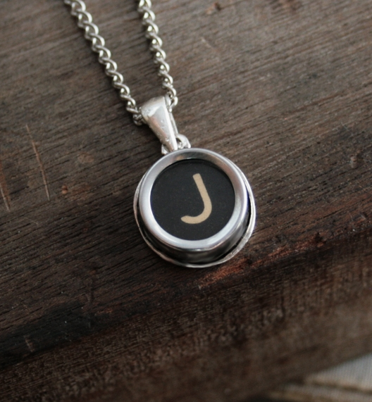 name necklace / initial pendant necklace made of authentic typewriter key letter