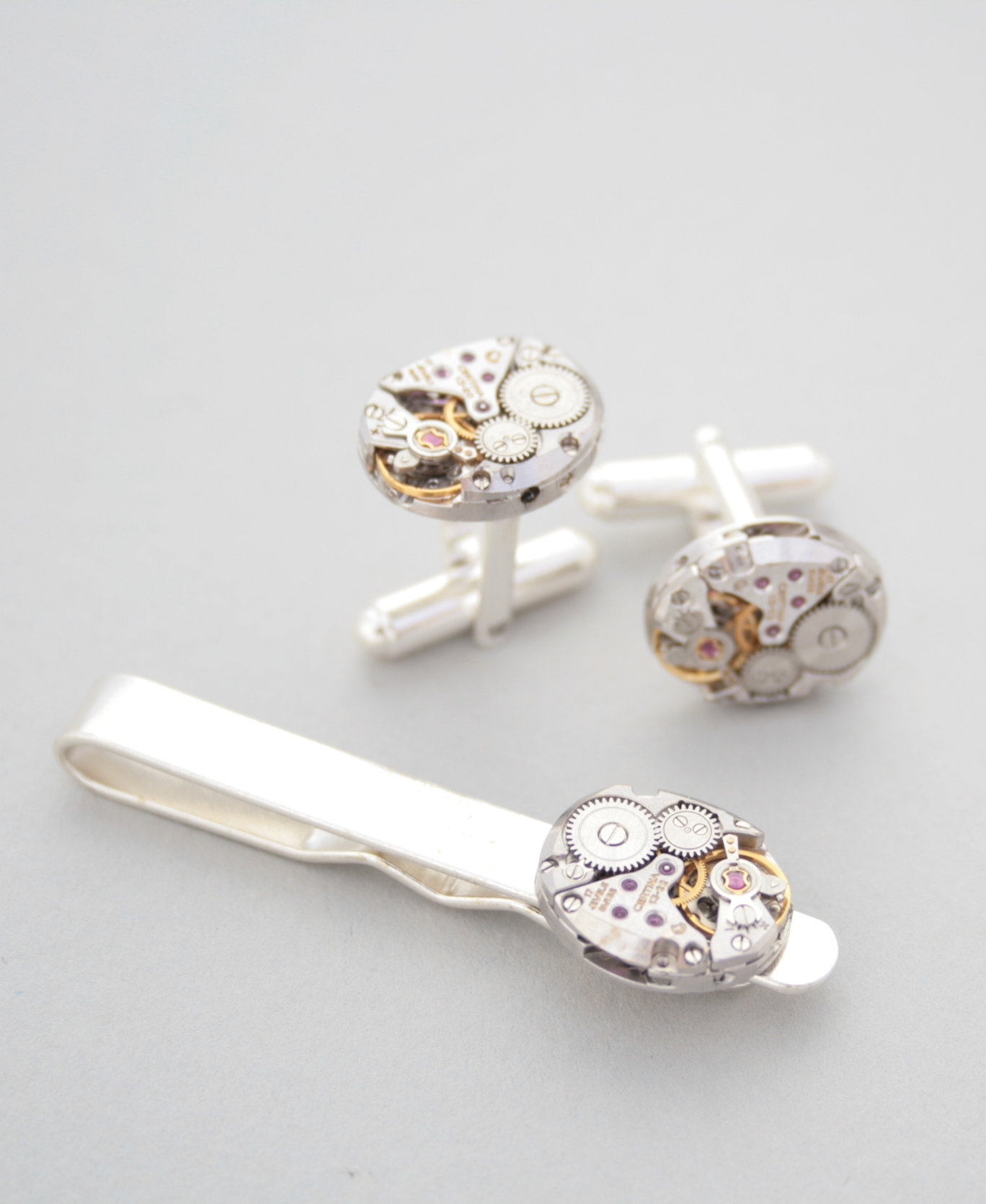 Sterling Tie Clip and Cufflinks with Steampunk Watch Movements