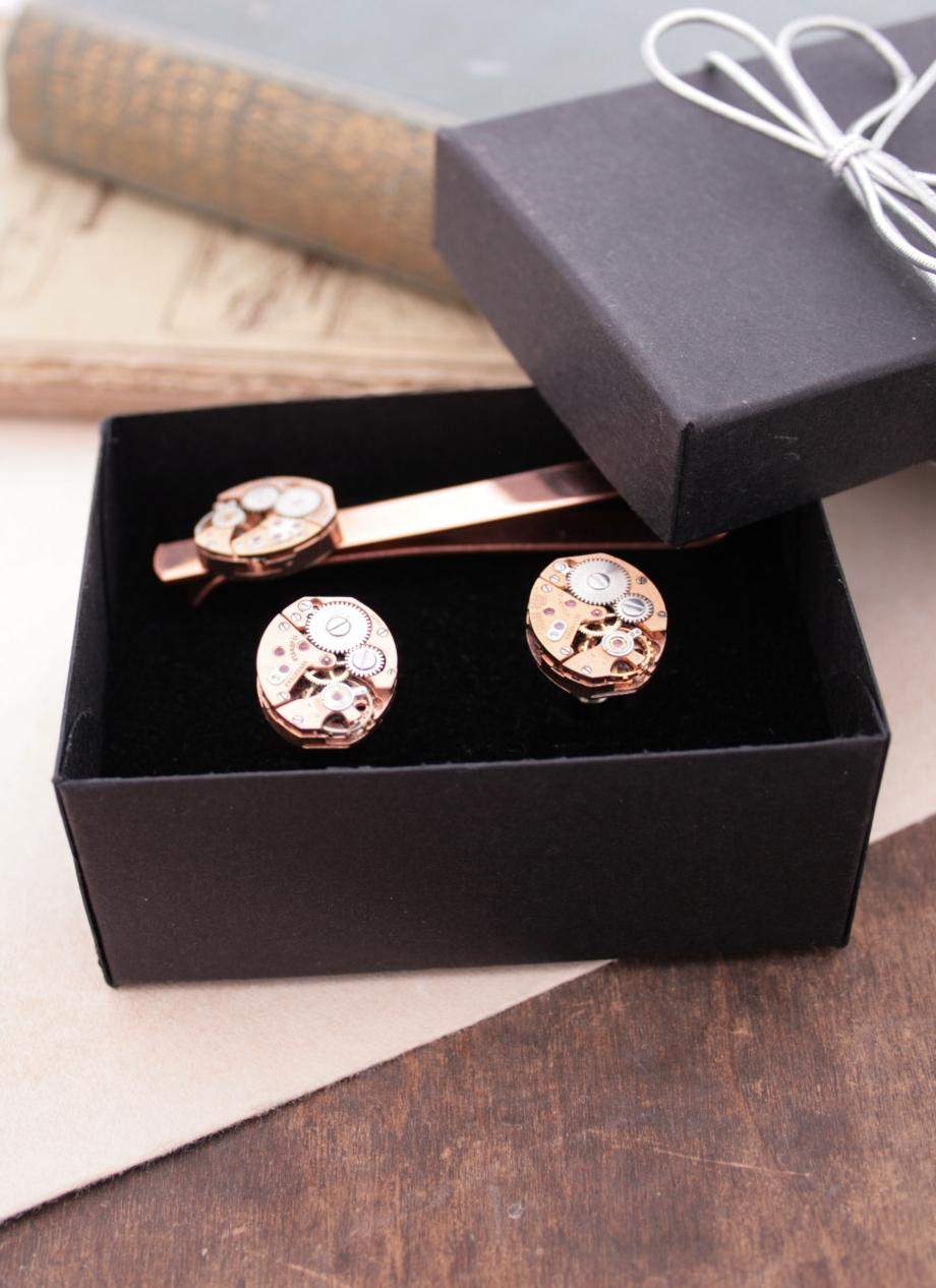 Copper Tie Clip and Cufflink set
