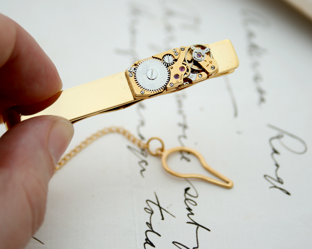 Gold Tie Bar with Chain and Swiss watch movement Tie Clip