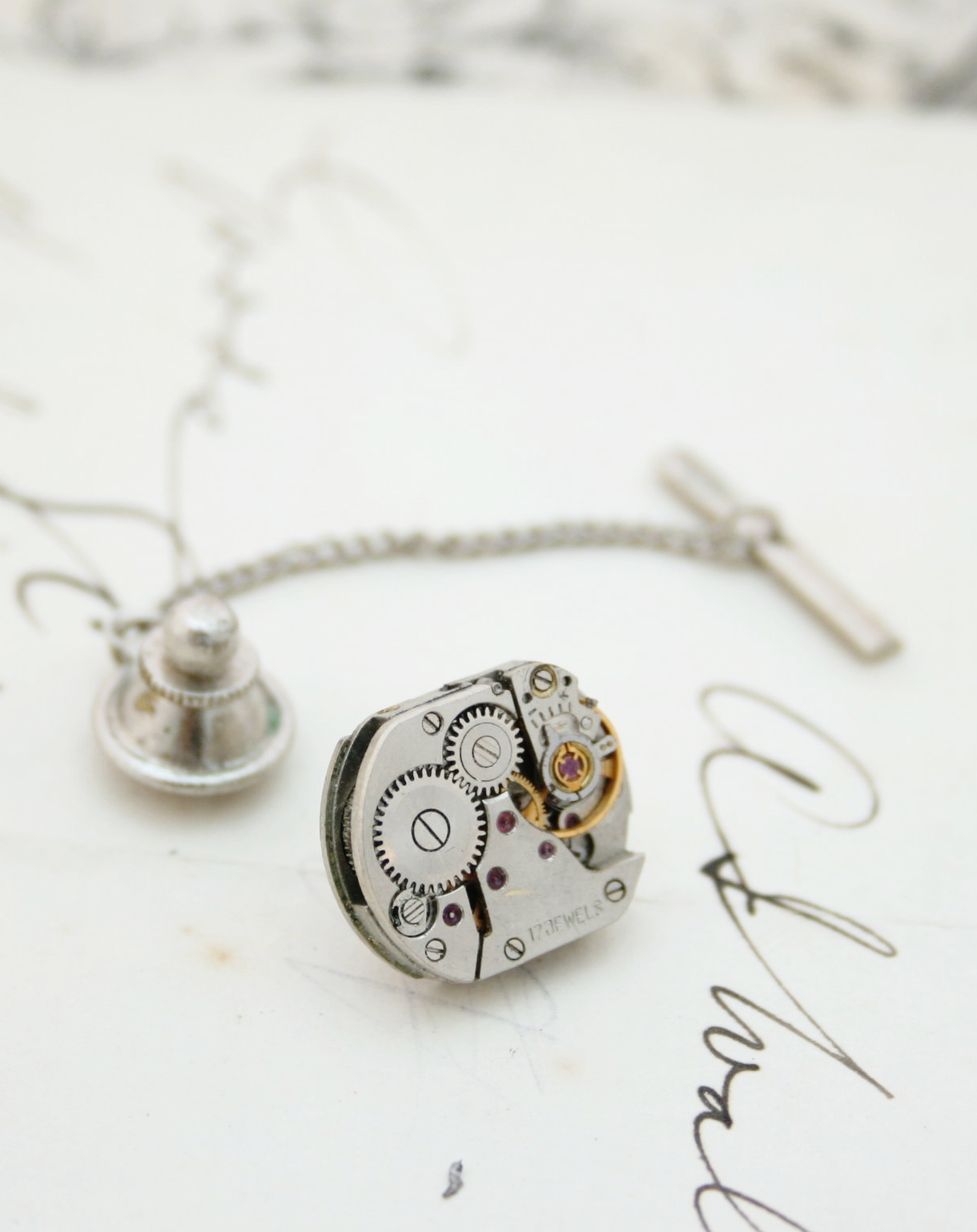 Steampunk Tie Tack with Watch Movement, Clutch and Chain