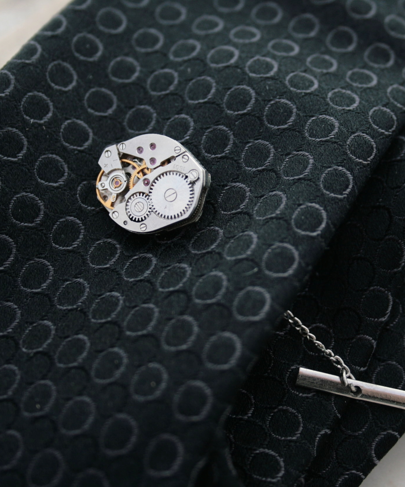 Tie Pin with Chain Industrial Tie Tack for Dapper Man