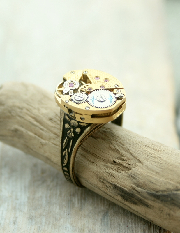 steampunk signet with watch movement