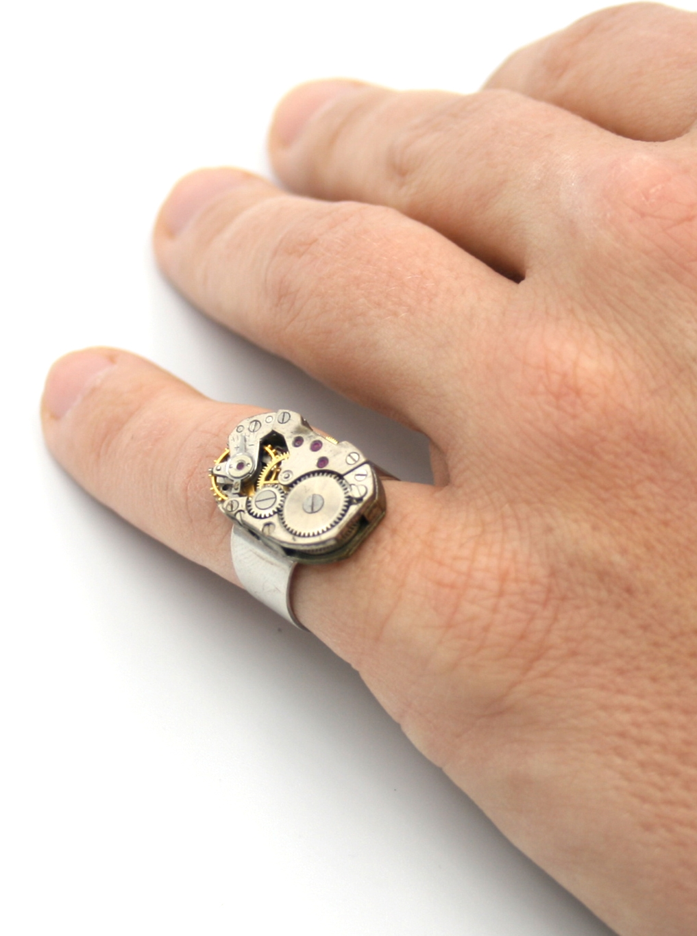 mens pinky ring / steampunk signet for man