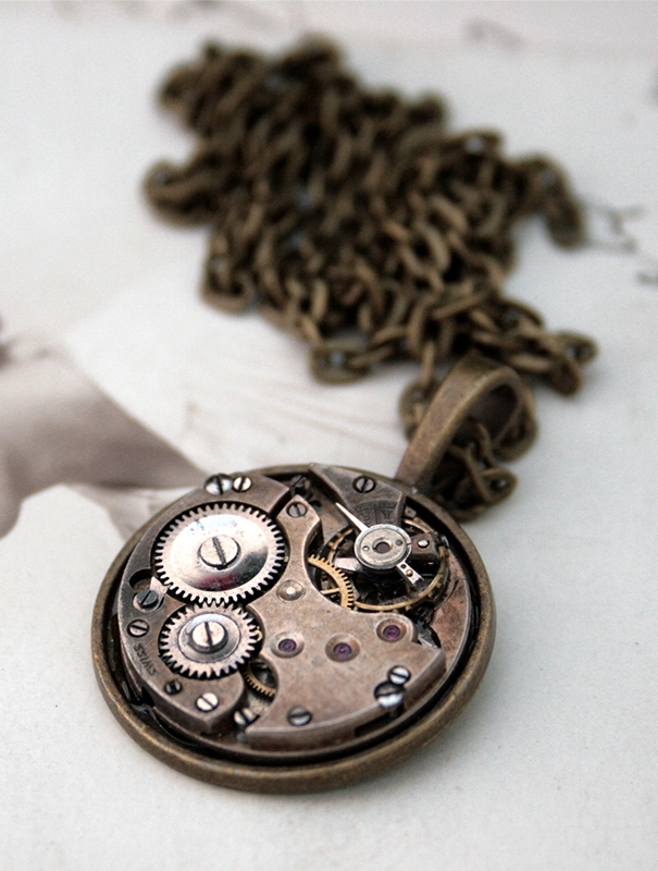 men necklace with watch movement in steampunk style