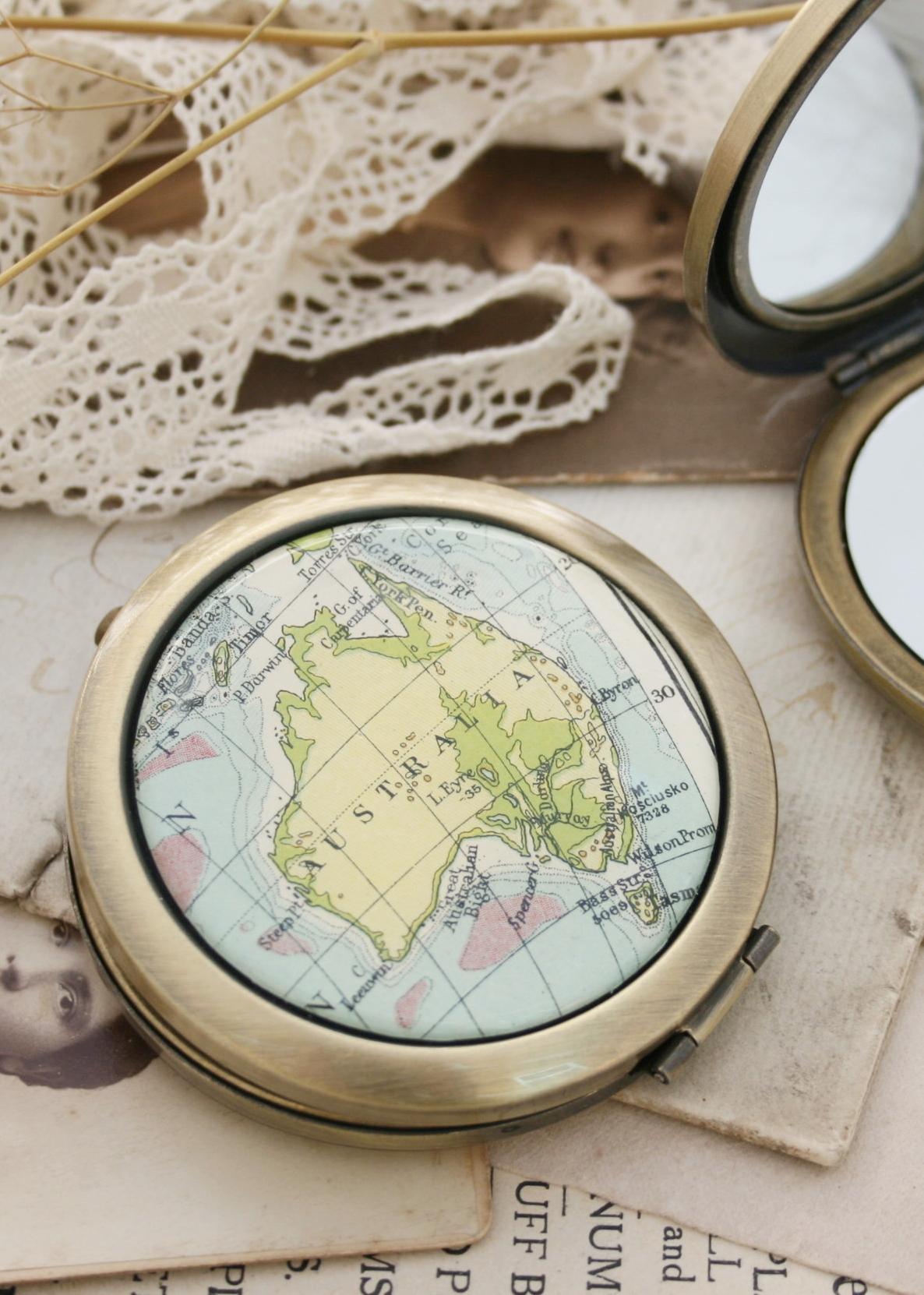 custom map wanderlust compact mirror